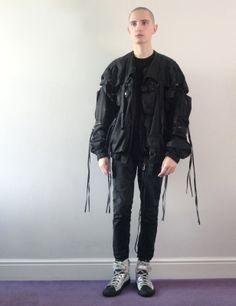 2003 Raf Simons parachute-bondage-military bomber jacket
