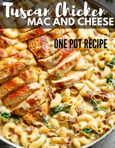 Tuscan Chicken Mac And Cheese is a one dish stovetop recipe that is loaded with flavor. Tons of cheese, seasonings, pasta, juicy chicken all waiting for you! The ultimate comfort food recipe. #tuscan #chicken #macandcheese #macaroni #pasta #cheesy Chicken Mac And Cheese Recipe, Cheese Recipes, Pasta Recipes, Chicken Recipes, Dinner Recipes, Mac Cheese, Loaded Mac And Cheese Recipe, Crockpot Recipes, Cake Recipes