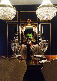 Alissa Sutton Interiors Black Walls Black and Gold Dining Room Candelabra Chandelier