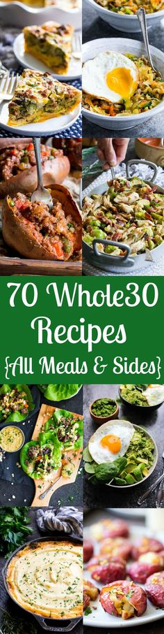 70 Whole30 Recipes {Breakfast, Lunch, Dinner, Sides} | The Paleo Running Momma #Whole30 #Paleo