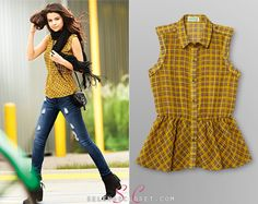 Selena Gomez wore this plaid sleeveless shirt with epaulet and paillette details in the commercial for her clothing line, Dream Out Loud, at Kmart. Peplum Shirts, Sleeveless Shirt, Selena Gomez Closet, Award Show Dresses, Latest Outfits, Autumn Fashion, Feminine, Victoria, Plaid