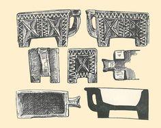 """Dibujo de una cajita cerámica zoomorfa con forma de buey y ornamentación excisa del yacimiento de los celtas Vacceos de """"El Soto de Medinilla"""" (acaso la antigua Tela), junto a Valladolid. Inicios del siglo I a.C."""