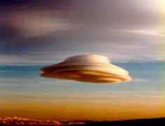 """Lenticular Clouds are often mistaken for UFOs. They are stationary lens-shaped clouds that form at high altitudes, normally aligned at right-angles to the wind direction. These clouds are formed by so-called """"mountain waves"""" of air created by strong winds forced over high mountains."""