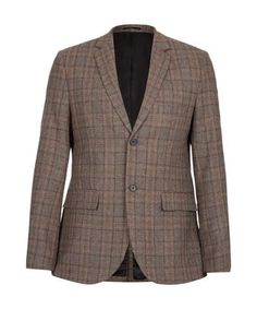 Premium Brown Checked Suit Jacket