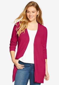"""A plush texture and a comfortable generous fit make this plus size sweater the perfect """"boyfriend"""" cardigan layer, in many rich colors to choose from.  comfortable, relaxed fit 30"""" length falls to the upper thigh V-neck with button placket long sleeves 2 front patch pockets hem slits soft, washable cotton/acrylic imported  Women's plus size cardigan in sizes M(14W-16W), L(18W-20W), 1X(22W-24W), 2X(26W-28W), 3X(30W-32W), 4X(34W-36W), 5X(38W-40W) The..."""