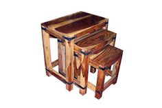 NEW: Mixed Tone Sheesham Tiger Wood Nest Of Three Tables (RRP £129) NOW ONLY £79 from The Interior Outlet - Clearance Furniture Warehouse  Priory Business Park  Fitzwilliam  Pontefract WF9 5BZ  West Yorkshire.