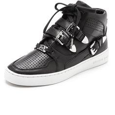 $195.00 Michael Michael Kors Robin High Top Sneakers - Black