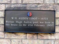 W H Auden plaque, 54 Bootham, York.