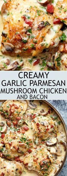 CREAMY GARLIC PARMESAN MUSHROOM CHICKEN & BACON
