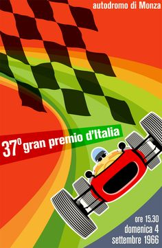 pinterest.com/fra411 #car #poster gran premio d'italia 1966