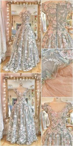 Retro Dresses Floral embroidered tulle and silk ballgown wedding dress by Joanne Fleming Design - an embroidered floral tulle wedding dress with French grey silk organza and nude tulle underskirts, ballgown style with cap sleeves Bridal Gowns, Wedding Gowns, Fairytale Dress, Fantasy Dress, Tulle Wedding, Beautiful Gowns, Quinceanera Dresses, Dream Dress, Pretty Dresses