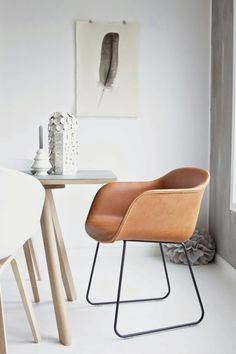 I love the leather chair against the white wall.