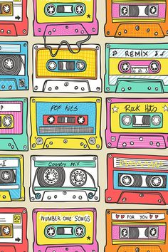 Retro cassette tapes design by caja_design. Yellow, pink, red, and gray illustration of vintage cassette tapes on fabric, wallpaper and gift wrap.