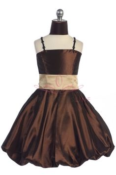 Brown Taffeta Spaghetti Strap Bubble Hem Short Flower Girl Dress