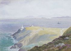 Joseph William Carey (1859-1937) - Bailly Lighthouse, Howth Joseph Williams, Old World, Lighthouse, Watercolour, Ireland, Pictures, Outdoor, Art, Bell Rock Lighthouse