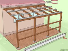 Image titled Add a Lean To Onto a Shed Step 22 - shed plans wit. Image titled Add a 8x8 Shed, 8x12 Shed Plans, Lean To Shed Plans, Diy Shed Plans, Storage Shed Plans, Lean Too Shed, Porch Plans, Cabin Plans, Wood Storage Sheds