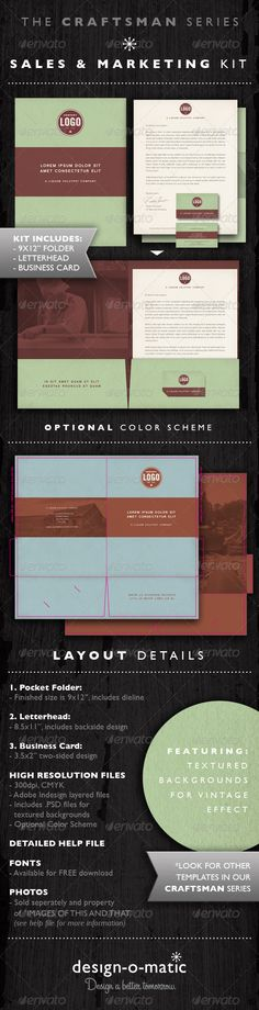 Sales & Marketing Kit Folder Template INDD This is a clean and professional sales and/or marketing kit with a vintage or retro aesthetic. The background colors have a subtle antiqued paper texture. The kit includes a folder, letterhead and business card. There are two color schemes to choose from. http://startupstacks.com/print-templates/sales-marketing-kit-folder-template-indd.html - free download
