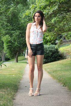leather shorts + blouse + vintage chain purse
