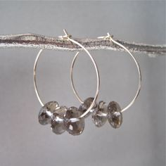 SALE Gold Hoop Earrings with Smoky Quartz Accents