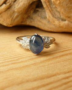 Blue Sapphire and Diamond Leaf Ring