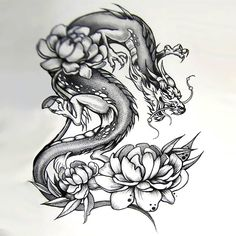 Japanese Dragon With Peonies Tattoo Design but I'd probably change it to Japanese cherry blossoms