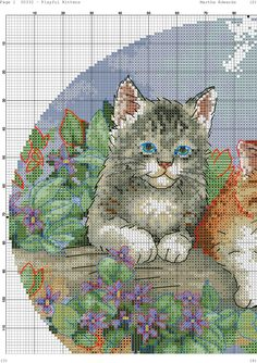 VK is the largest European social network with more than 100 million active users. Primroses, Cross Stitch Animals, Needlework, Butterfly, Kids Rugs, Cat Cat, Painting, Embroidery Stitches, Gatos