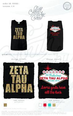 Zeta Tau Alpha   Welcome to Las Vegas Tee Shirt   Zeta Tau Alpha Gold Foil Tank   Gold Foil Tank Designs   ZTA Bid Day   South by Sea   Sorority Shirts   Sorority Tanks   Greek Shirts