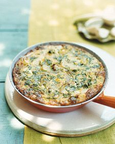 This baked version of tortilla espanola is like a potato-and-onion fritatta. It maintains its Spanish accent with a pinch of saffron.