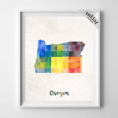 Oregon Watercolor Map Print. Prices from $9.95. Available at www.InkistPrints.com #Map #Oregon