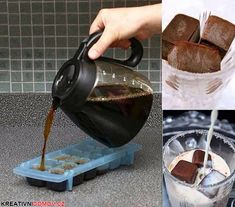 Coffee Ice Cubes for iced coffee.now that's one smart idea. (I've used the coffee ice cubes to flavor vanilla smoothies and protein shakes. Coffee Shop, Iced Coffee, Coffee Drinks, Coffee Lovers, Hot Coffee, Coffee Creamer, Iced Cappuccino, Easy Coffee, Coffee Works