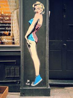 Pegasus street art, outside Soho Skin on Silver St, London W1.