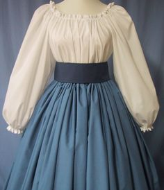 civil war outfits ladies | Civil War Reenactment Costume - Long SKIRT Dresden Blue Color ...