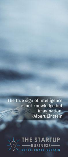 The true sign of intelligence is not knowledge but imagination. -Albert Einstein #TheStartupBusiness #Inspire