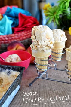 Roasted Brown Sugar Peaches and Cream Frozen Custard recipe at @TidyMom.net
