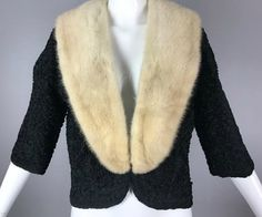 ViNtAgE 60s White Ivory MINK Real Shawl Collar by MothFoodVintage