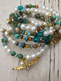 Made to Order Pearl & Turquoise Wrap Bracelet by Forever51 on Etsy, $50.00
