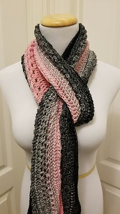 """Scarf dimensions are 76"""" long x 8"""" wide but can be made as wide as needed by continuing with pattern sequence until desired width."""