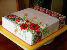 """This Cake is decorated """"Embroidered Style of Ukraine Cake Icing, Buttercream Cake, Cupcake Cakes, 90th Birthday Cakes, Happy Birthday Cake Images, Sheet Cakes Decorated, Hungarian Cake, Christmas Cake Designs, Fiesta Cake"""
