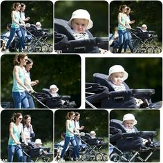 The Duchess of Cambridge walking with a friend/bodyguard Emma and Prince George in Kensington Gardens in July