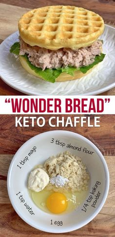 Keto Bread Chaffle This easy keto waffle recipe is made with simple ingredients: almond flour, mayo, egg and baking powder. An absolutely amazing mini waffle maker recipe that makes for excellent low carb sandwich bread! Ketogenic Recipes, Low Carb Recipes, Diet Recipes, Healthy Recipes, Ketogenic Diet, Recipes Dinner, Bread Recipes, Dessert Recipes, Breakfast Recipes