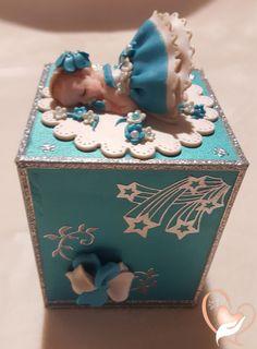 Tirelire enfant bébé fille turquoise - au coeur des arts