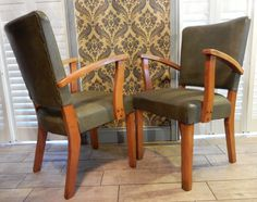 Vintage , Late Art Deco, Pair of Hall, Dining, Gentlemens chairs ,Boho Retro.Farmhouse by Route46Vintage on Etsy