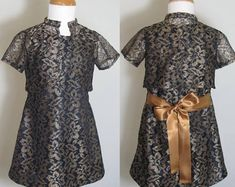 Gold Lace Party Dress: Dresses for your Little Girls Aged 2-8 by SerendipityGDDsShop Shrug For Dresses, Lace Party Dresses, Short Sleeve Dresses, Girls Designer Dresses, Gold Lace, Handmade Dresses, Chic Dress, Little Girl Dresses, Serendipity