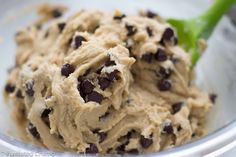No-Egg Chocolate Chip Cookie Dough - Not to bake, just eat as is....YUM!