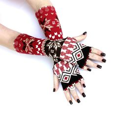 Red and Brown Winter  Arm Warmers   Chirstmas by WearMeUp on Etsy, $15.00