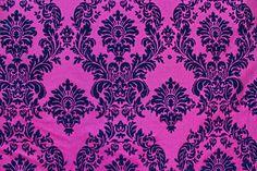 "Fuchsia Black Flocking Damask Taffeta Velvet  Fabric 58"" Flocked Decor #TableClothMarket"