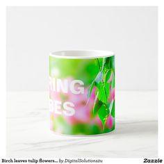 Birch leaves tulip flowers customizable coffee mug