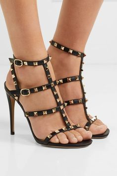 Valentino - Valentino Garavani The Rockstud 105 leather sandals Valentino Garavani, Valentino Sandals, Valentino Couture, Ankle Straps, Ankle Strap Sandals, Leather Sandals, Shoes Sandals, Chan Luu, Leather