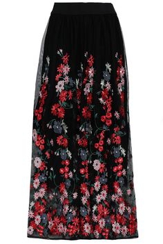 07f9ffe131 Maje Tulle Floral Embroidered Midi Skirt (15.070 RUB) ❤ liked on ...