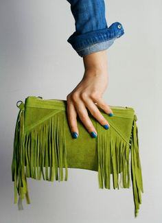 Olive Green Boho Fringe leather bag Suede leather by OmniaLeather, £35.00